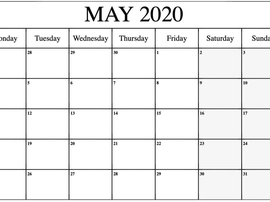 Free Calendar 2020 May Blank