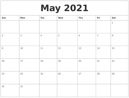 Free May Calendar 2021 Portrait