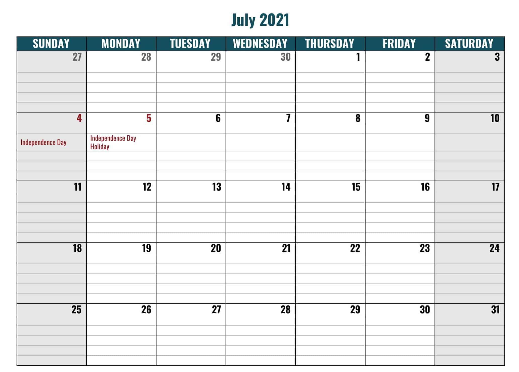 July 2021 Calendar Word Editable