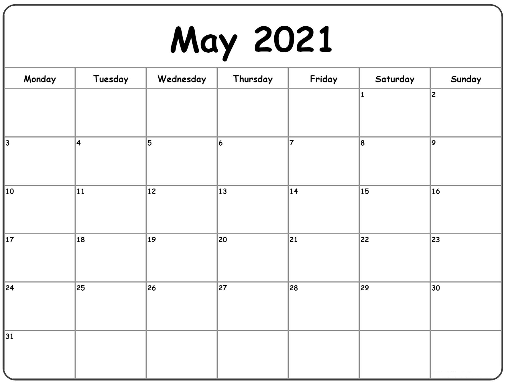 May 2021 A4 Calendar Page