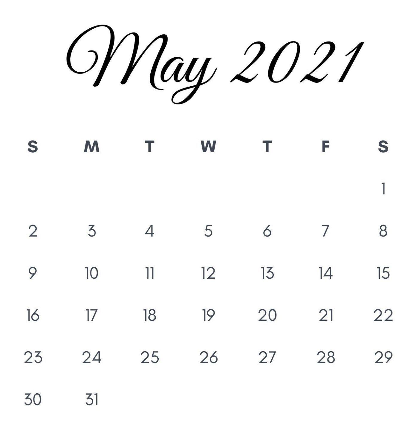 May 2021 Calendar For Desk