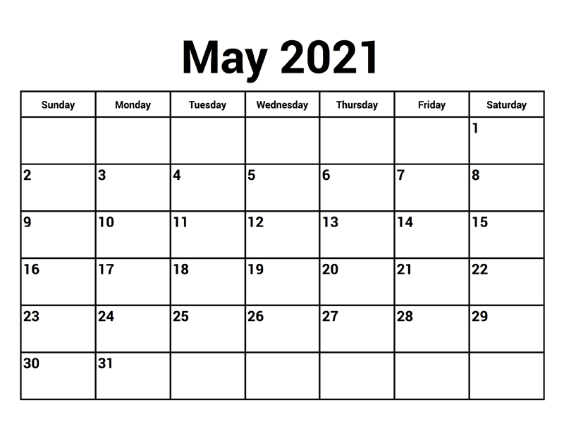 May 2021 Calendar Landscape