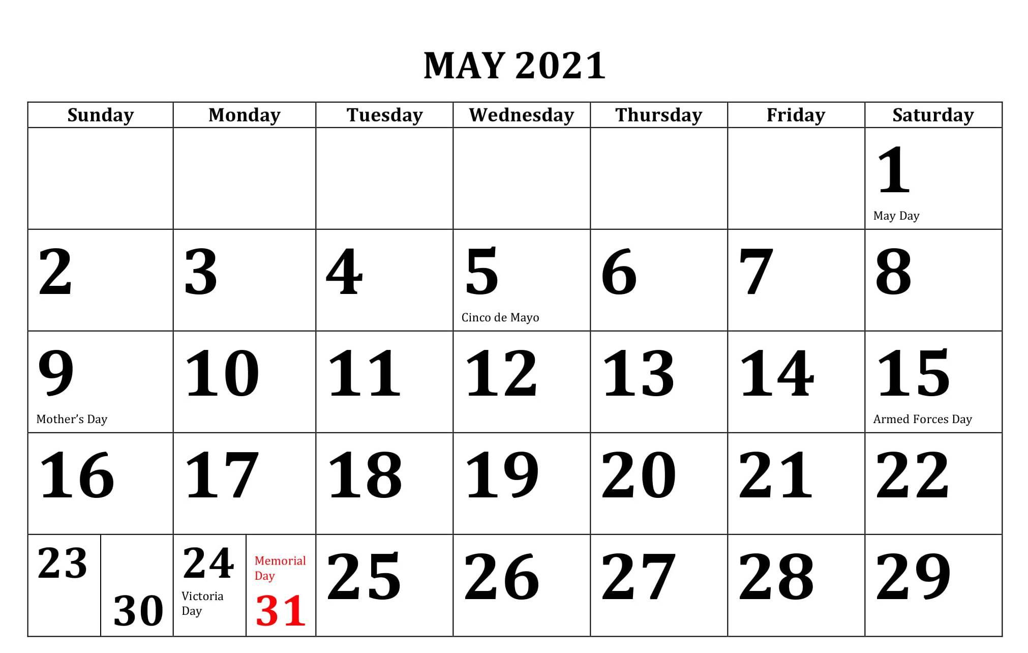 May 2021 Calendar USA Bank & Public Holidays Template