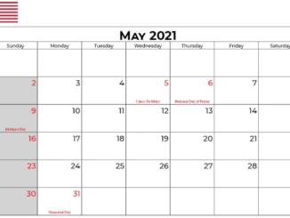 May 2021 Calendar USA Template