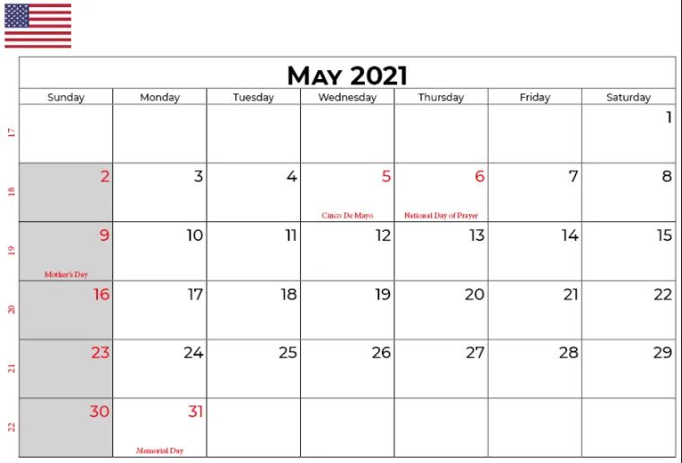 Blank May Calendar 2021