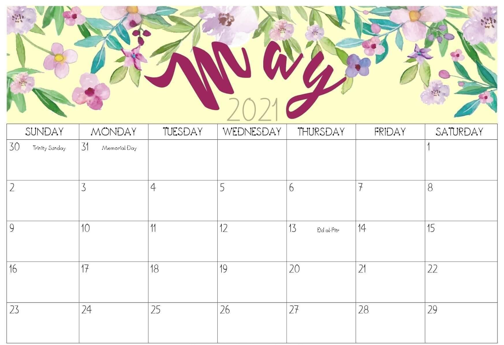 May 2021 Floral Calendar Design