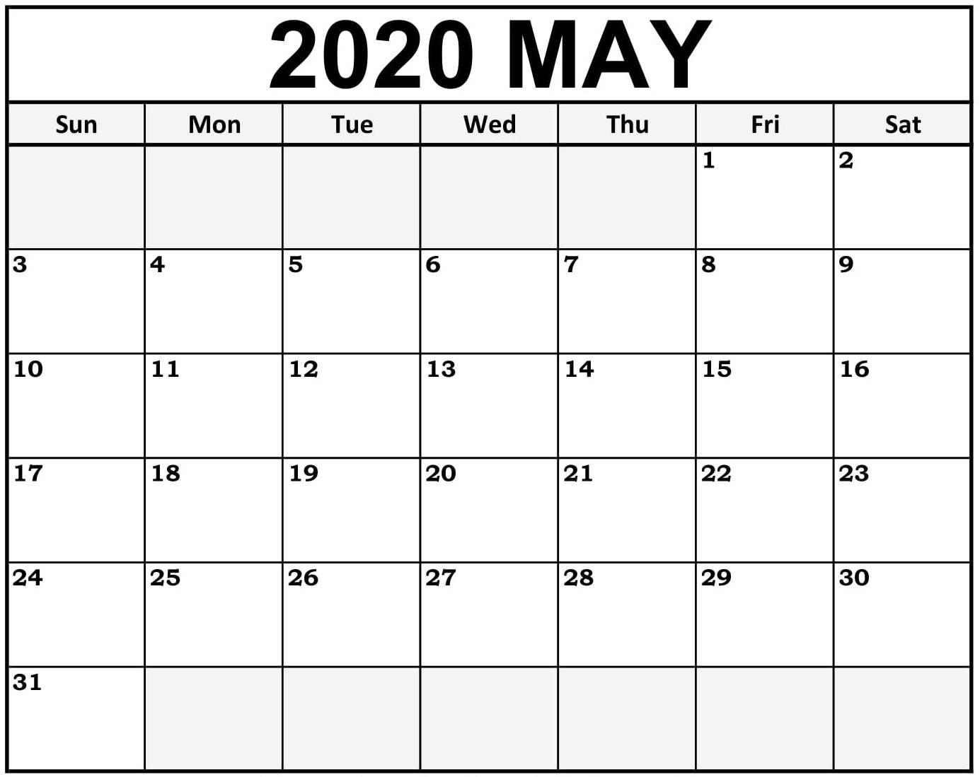 May Calendar 2020 Print