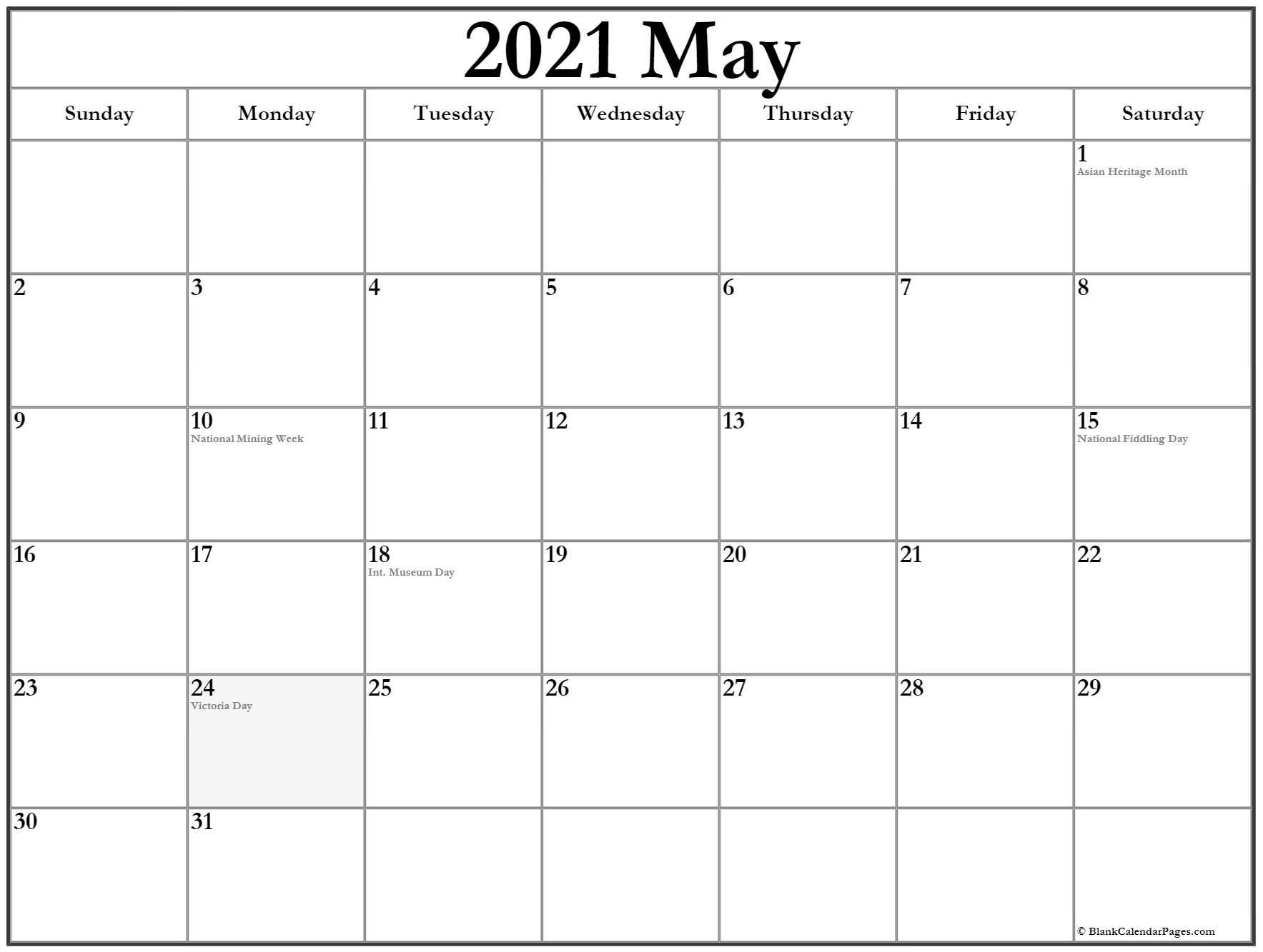 May Calendar 2021 Printable Template
