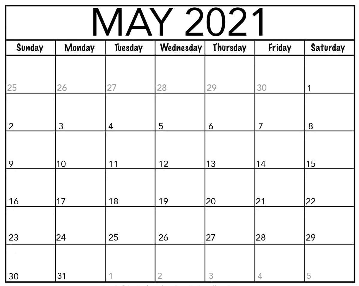 Monthly Calendar May 2021 word