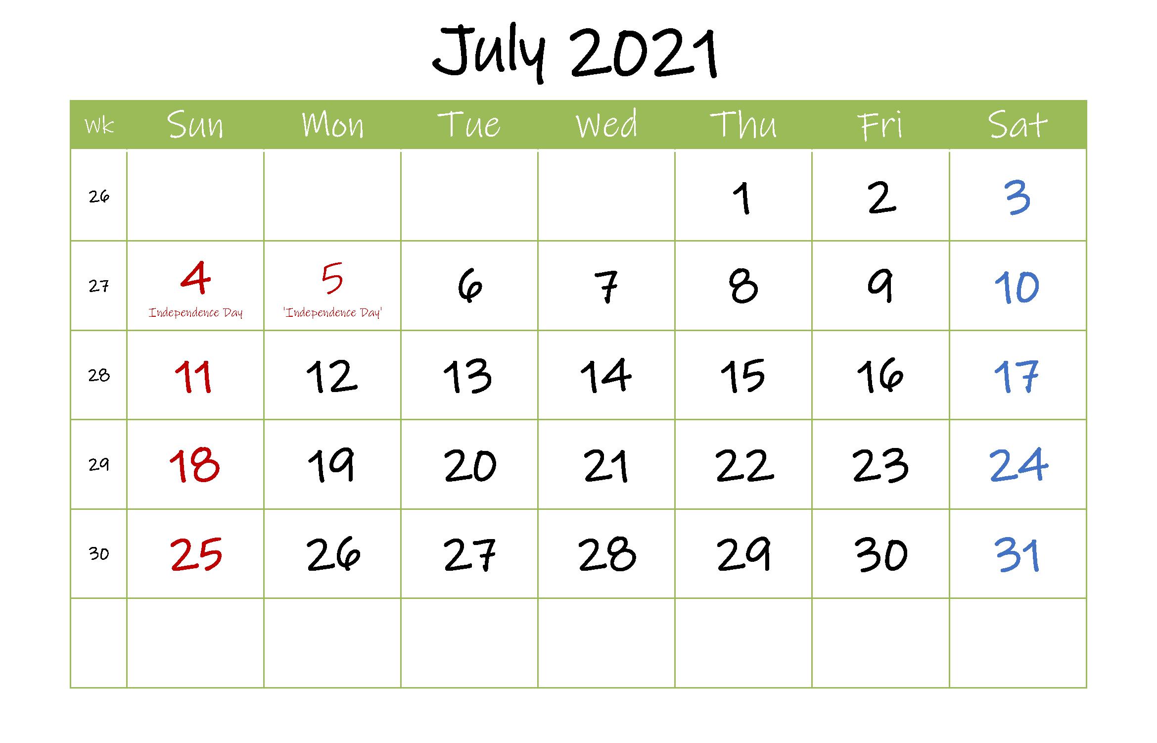 Printable July 2021 Calendar Editable