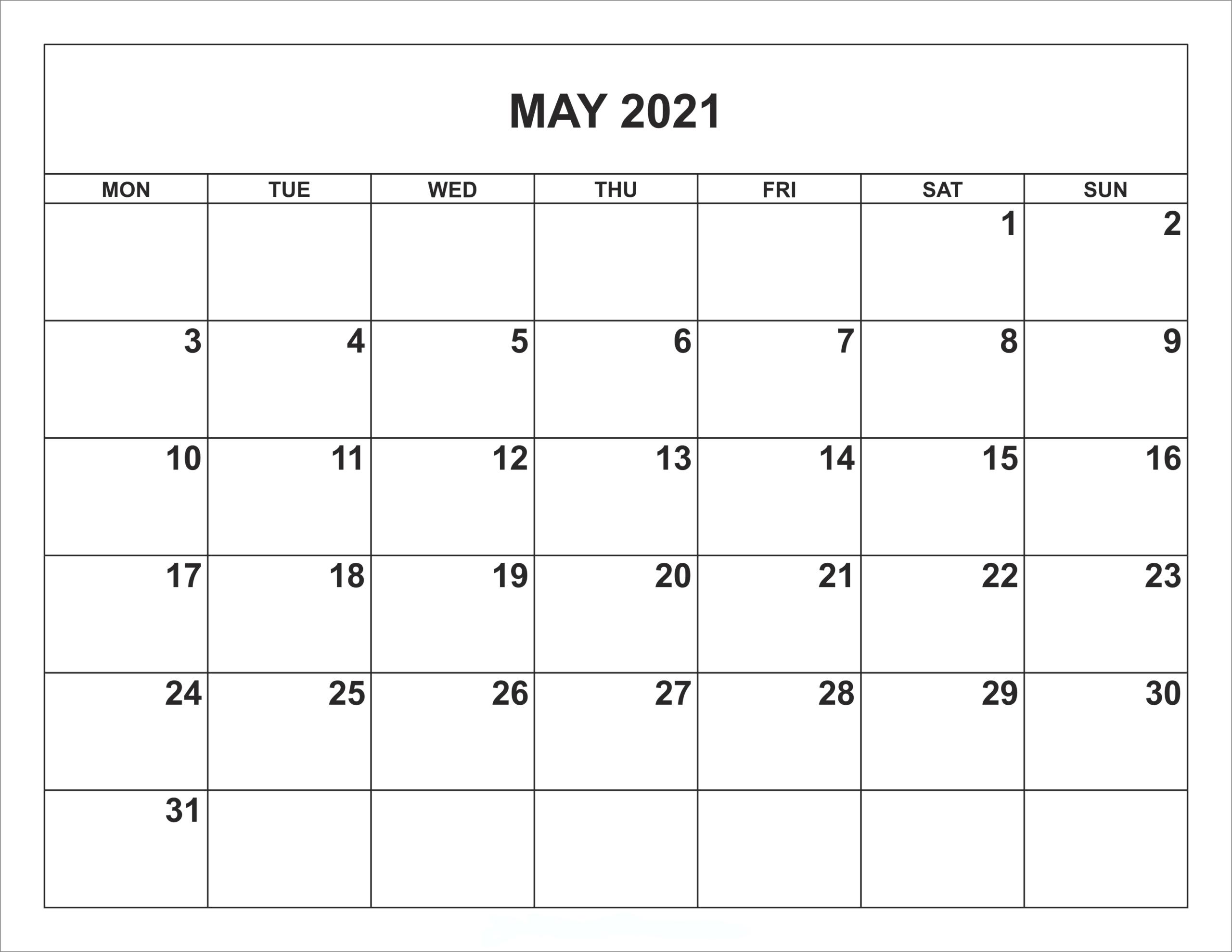 Printable May 2021 US Calendar