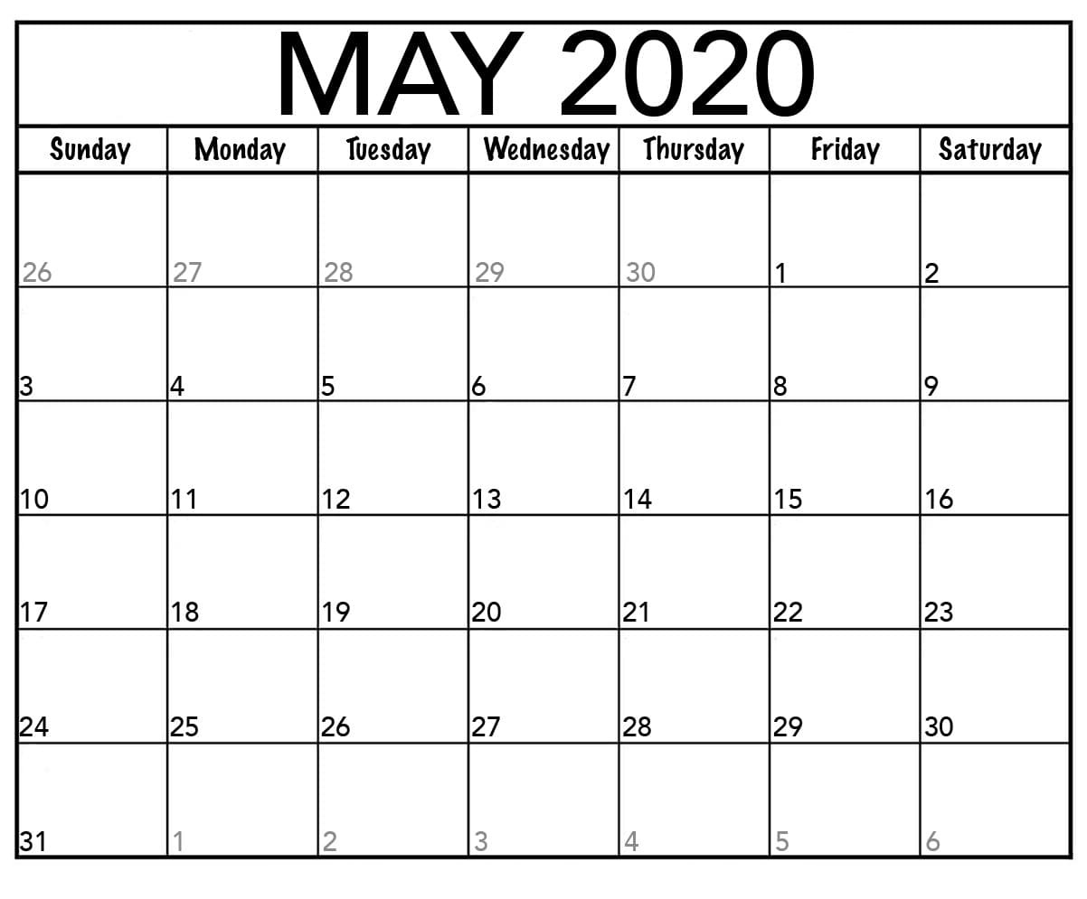 Printable May Calendar 2020 Blank Templates