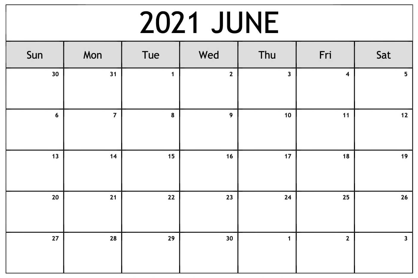 Blank Calendar Pages June 2021