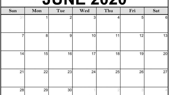 Blank Calendar of June 2020