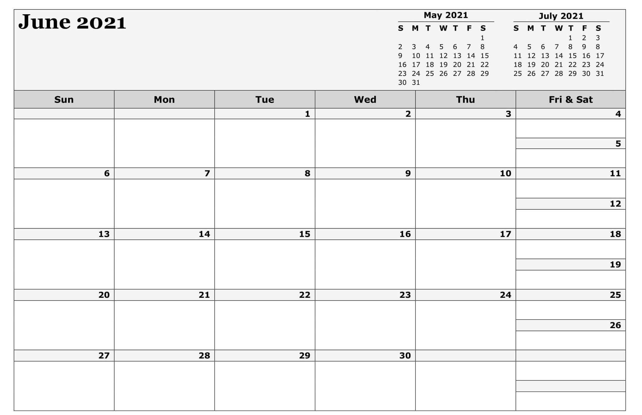 Blank June 2021 Calendar Excel