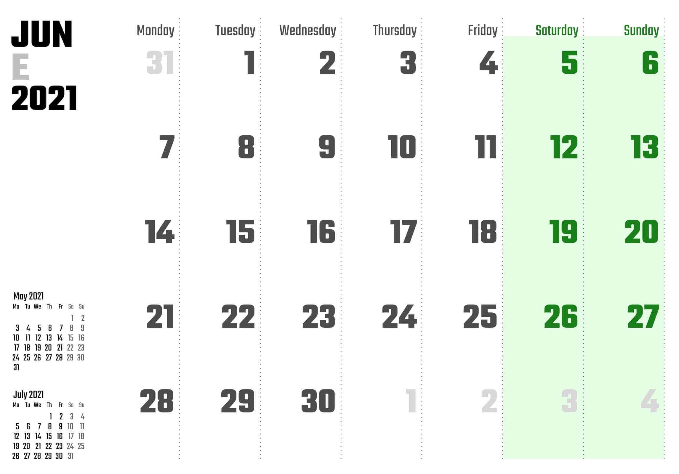 Editable June 2021 Calendar Blank