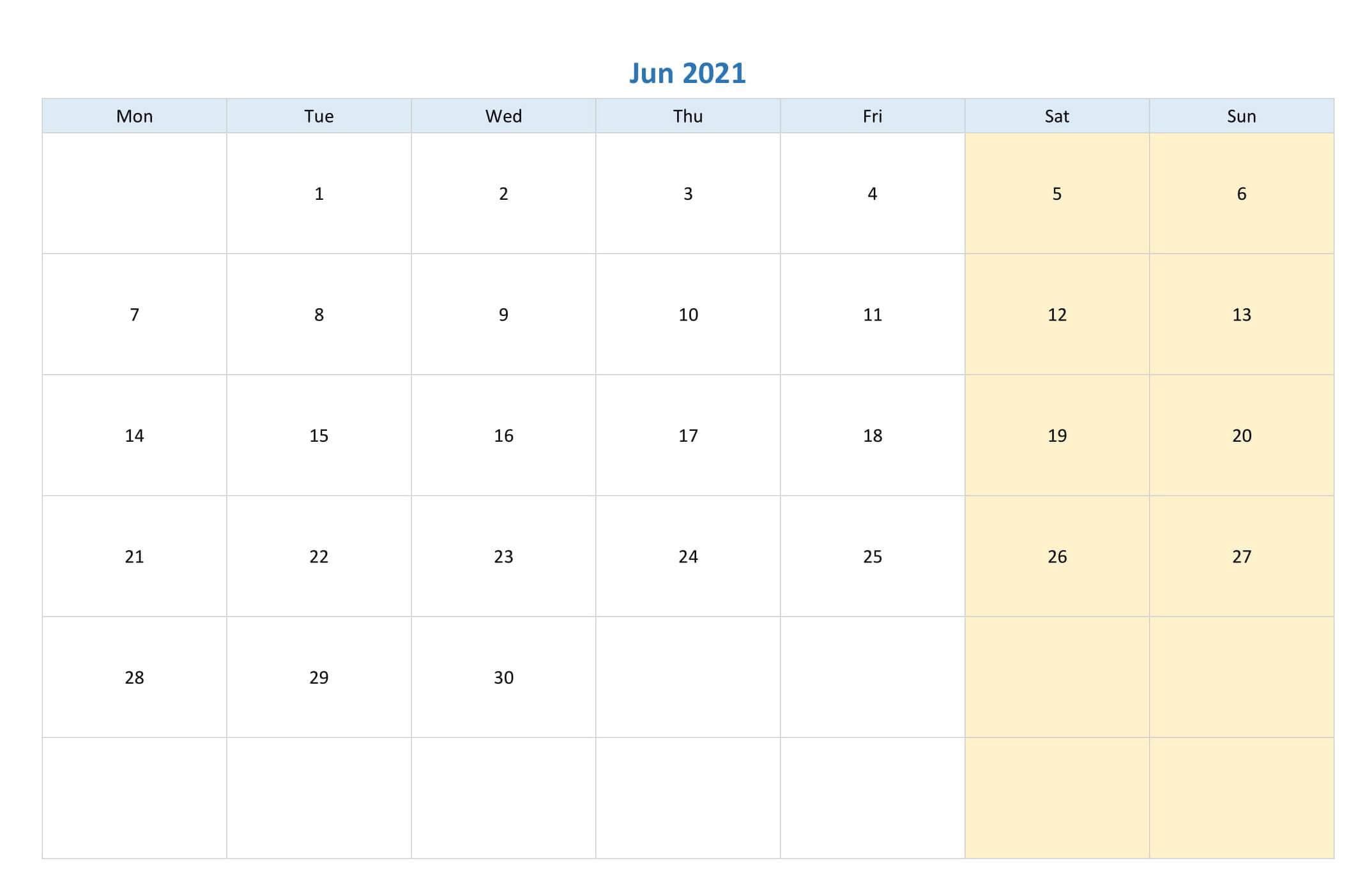 Editable June 2021 Calendar PDF Template
