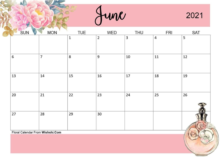 Floral June 2021 Calendar Cute