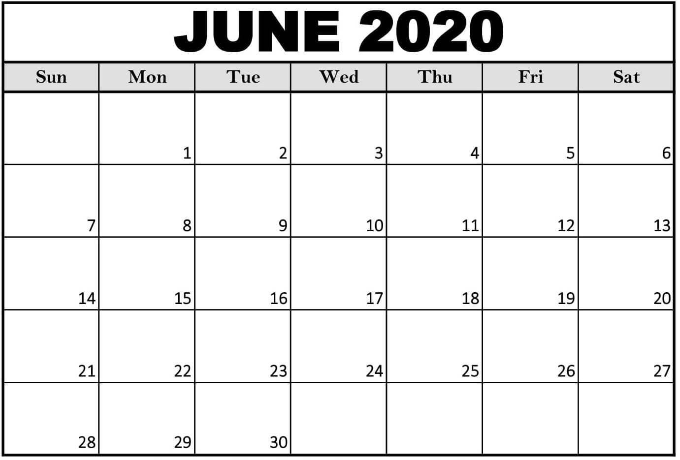 Free Blank June 2020 Calendar