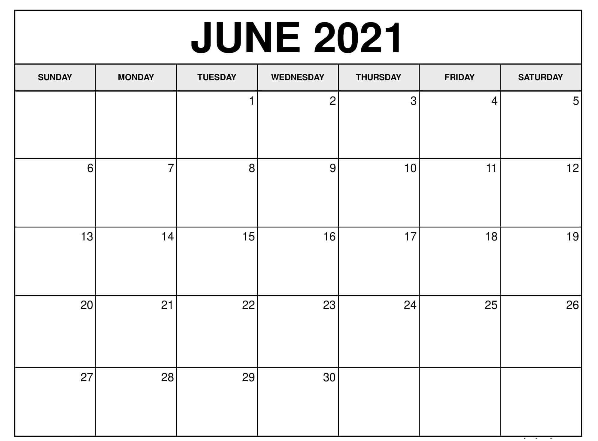 Free Blank June 2021 Calendar