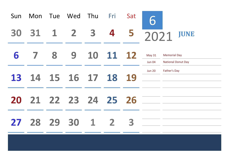 Free Printable June 2021 Calendar Blank