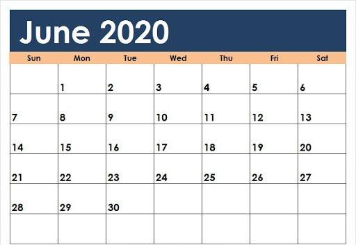 Editable June 2020 Calendar Blank Template