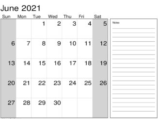 June 2021 Blank Calendar with Notes