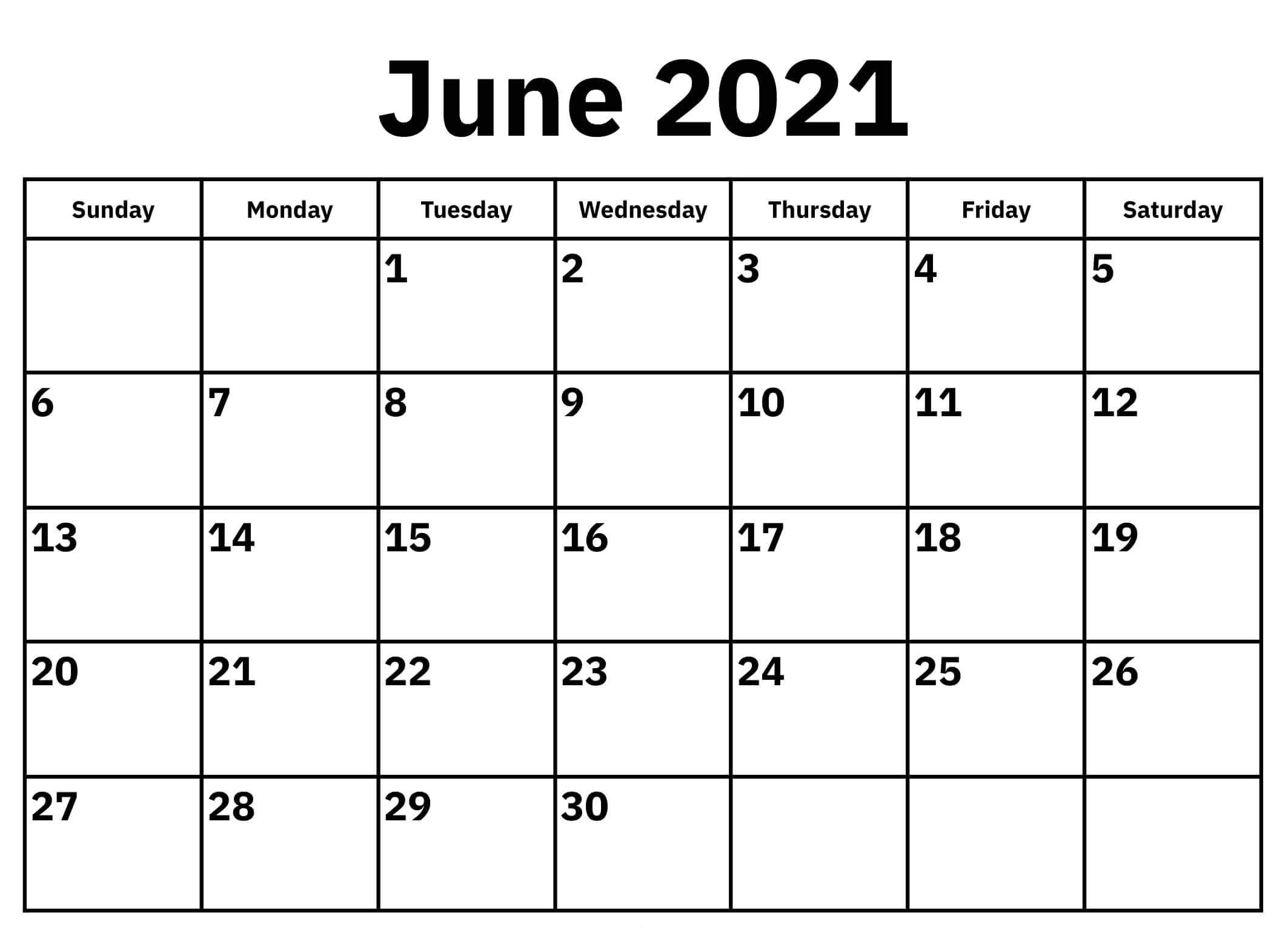 June 2021 Calendar Editable Template