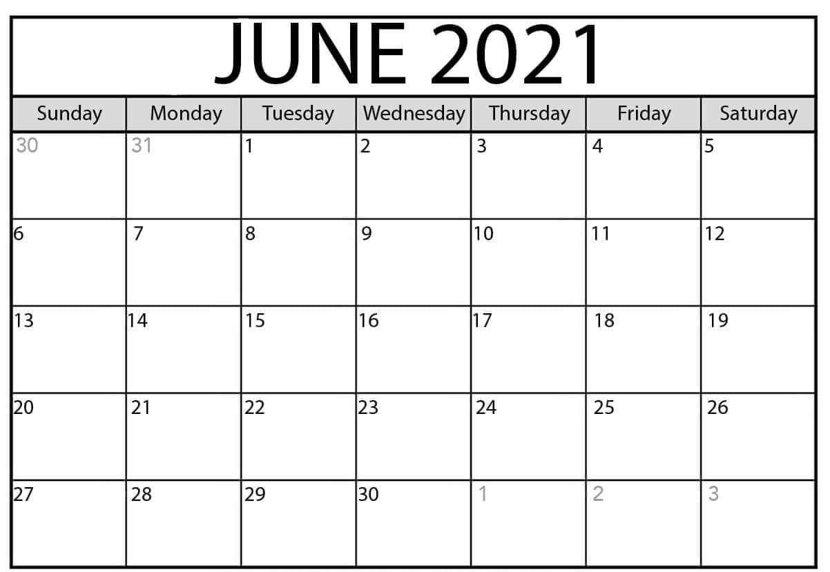 June 2021 Calendar Excel