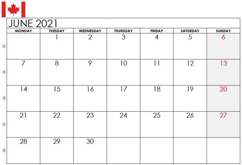June 2021 Canada Holidays Calendar