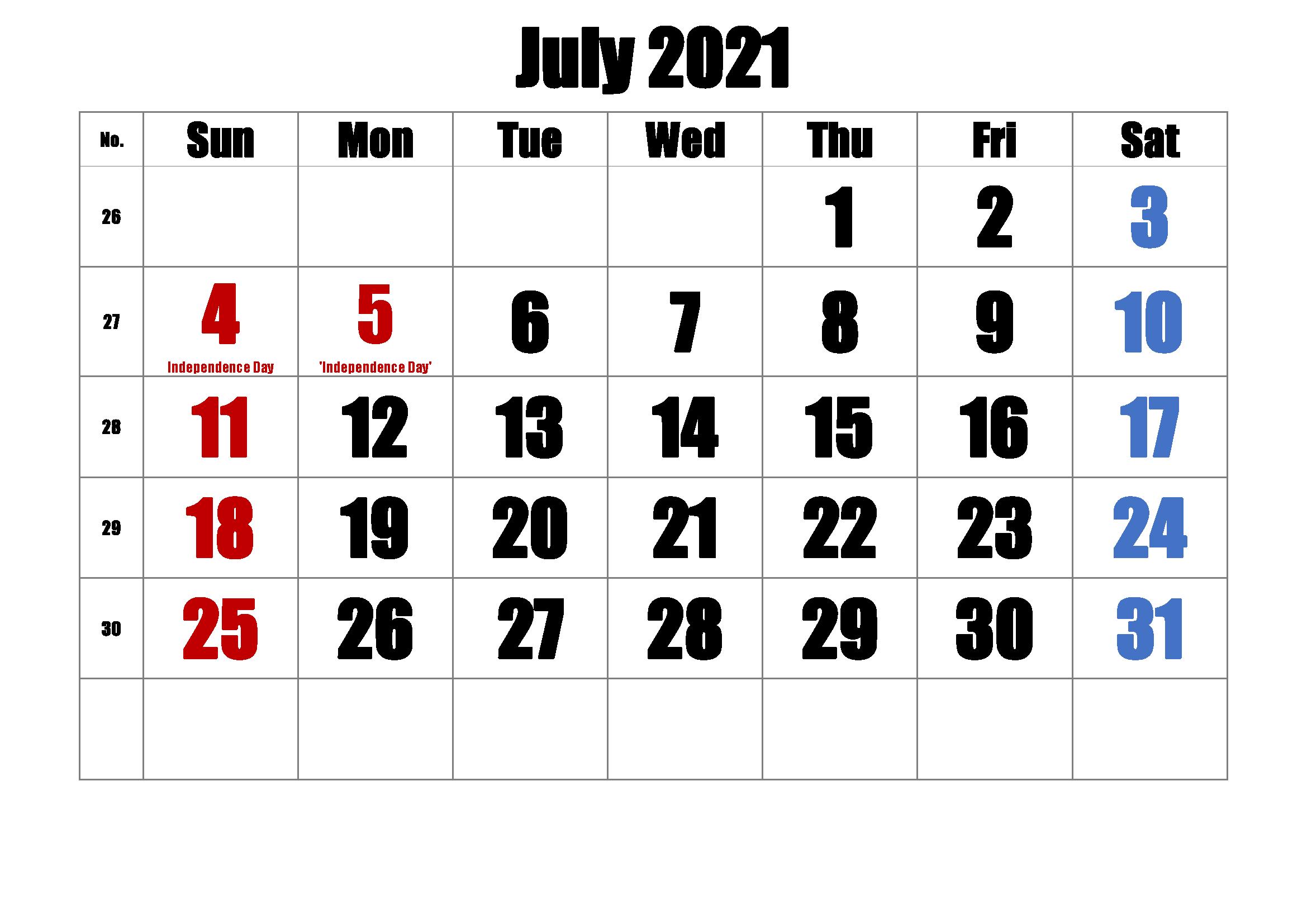 June 2021 Federal Holidays Calendar