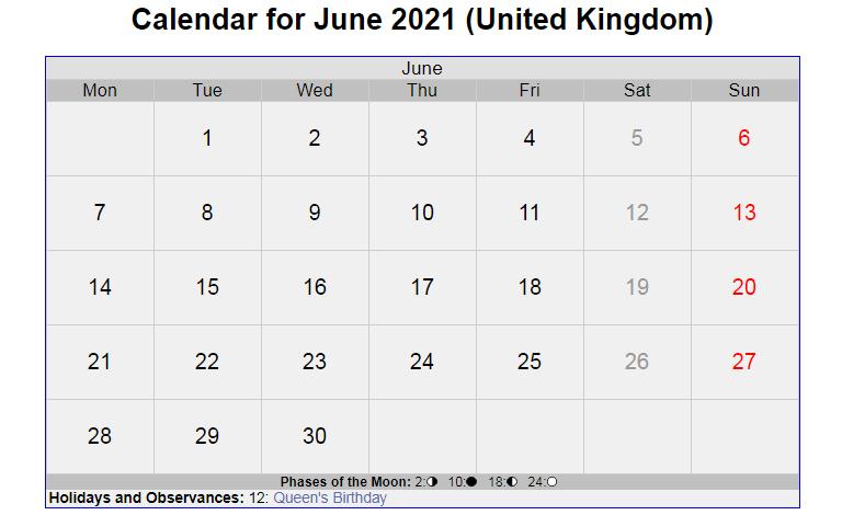 June 2021 United Kingdom Holidays Calendar
