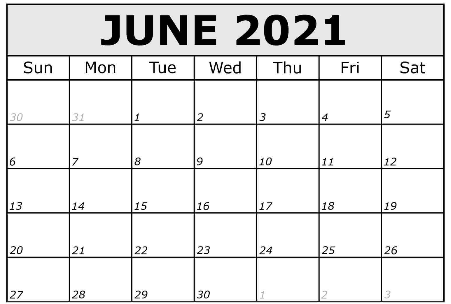 June Calendar 2021 Printable Template