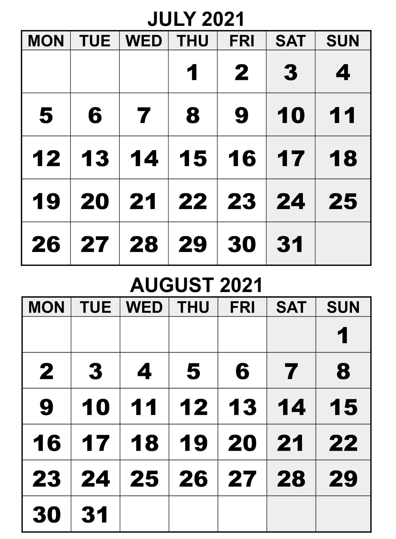 2 month july august 2021 Calendar