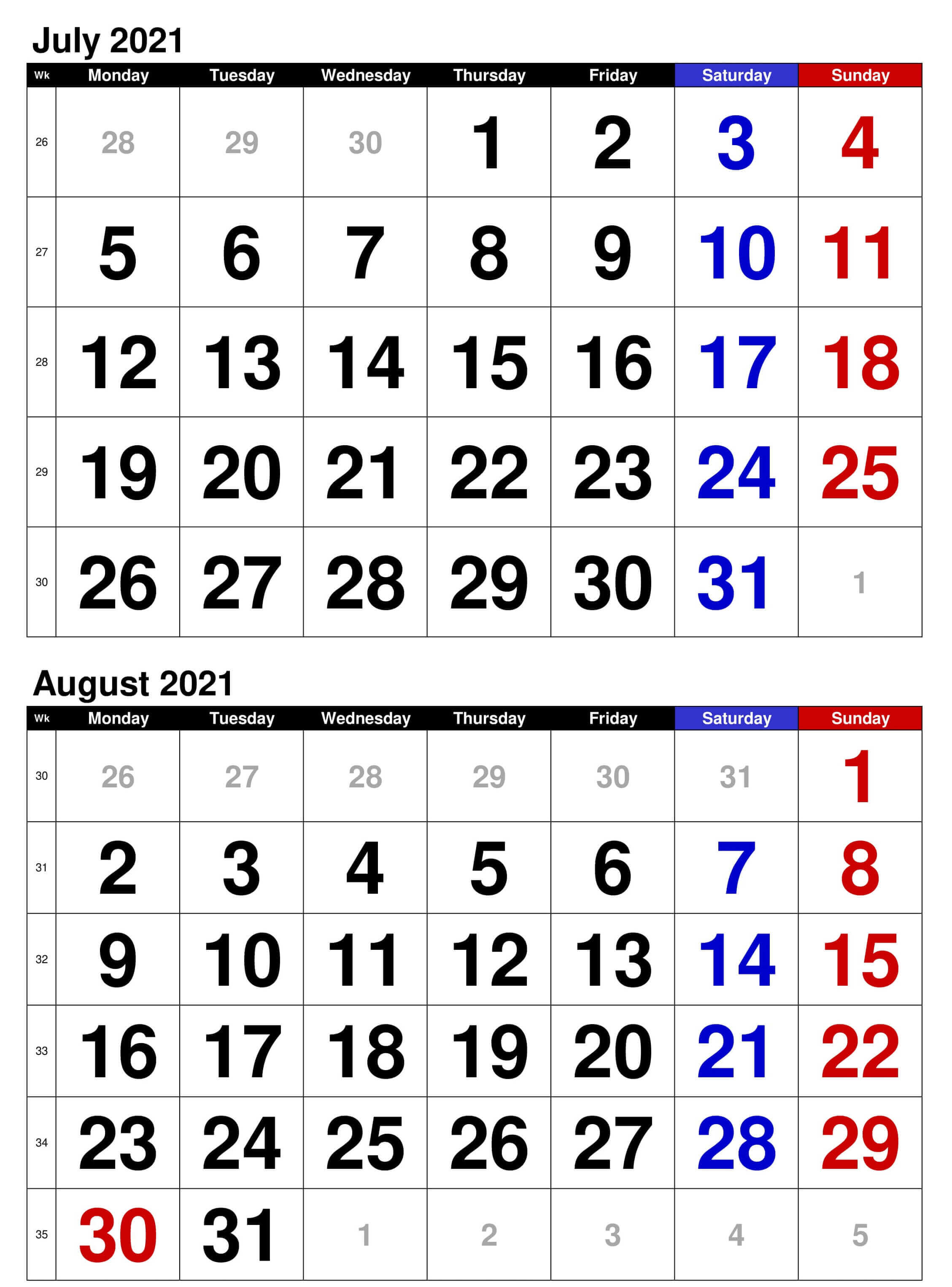 2021 July to August Calendar Excel