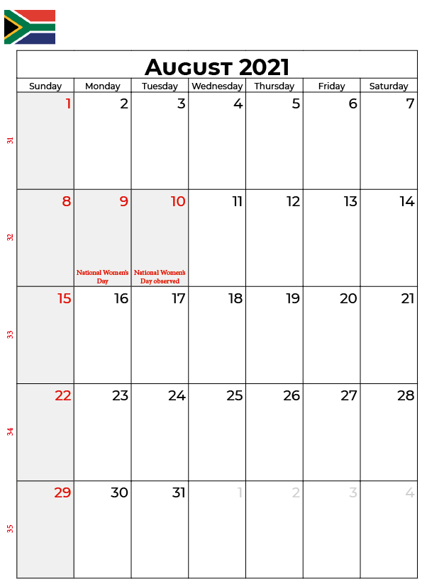 August 2021 Australia Holidays Calendar