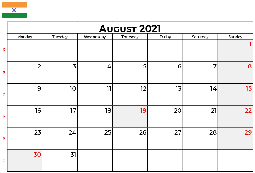 August 2021 India Holidays Calendar