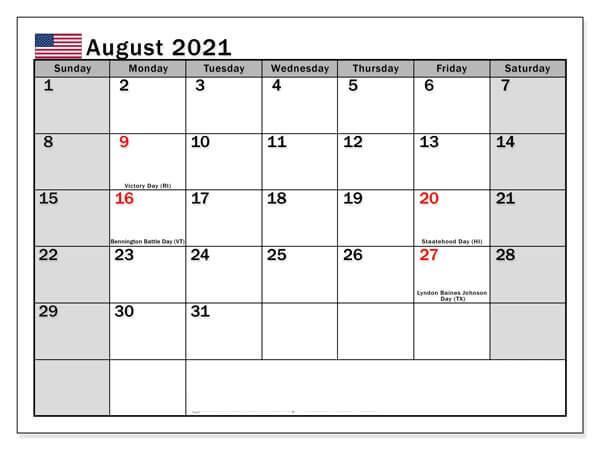 August 2021 USA Holidays Calendar