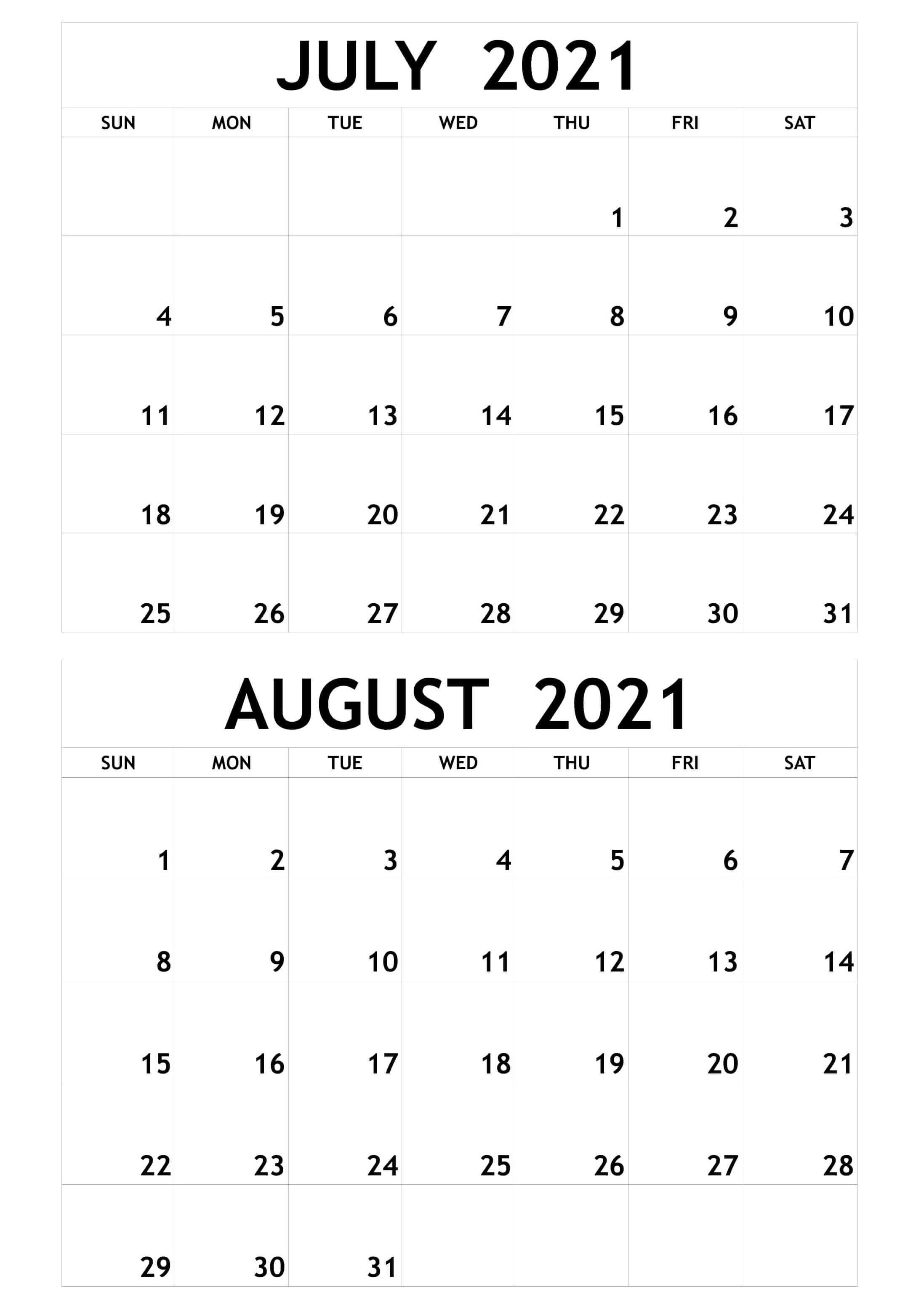 Blank Calendar July to Augsut 2021