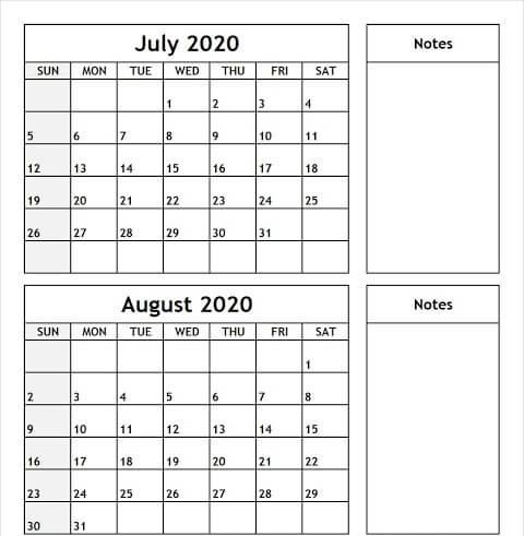 Blank July August 2020 Calendar Printable