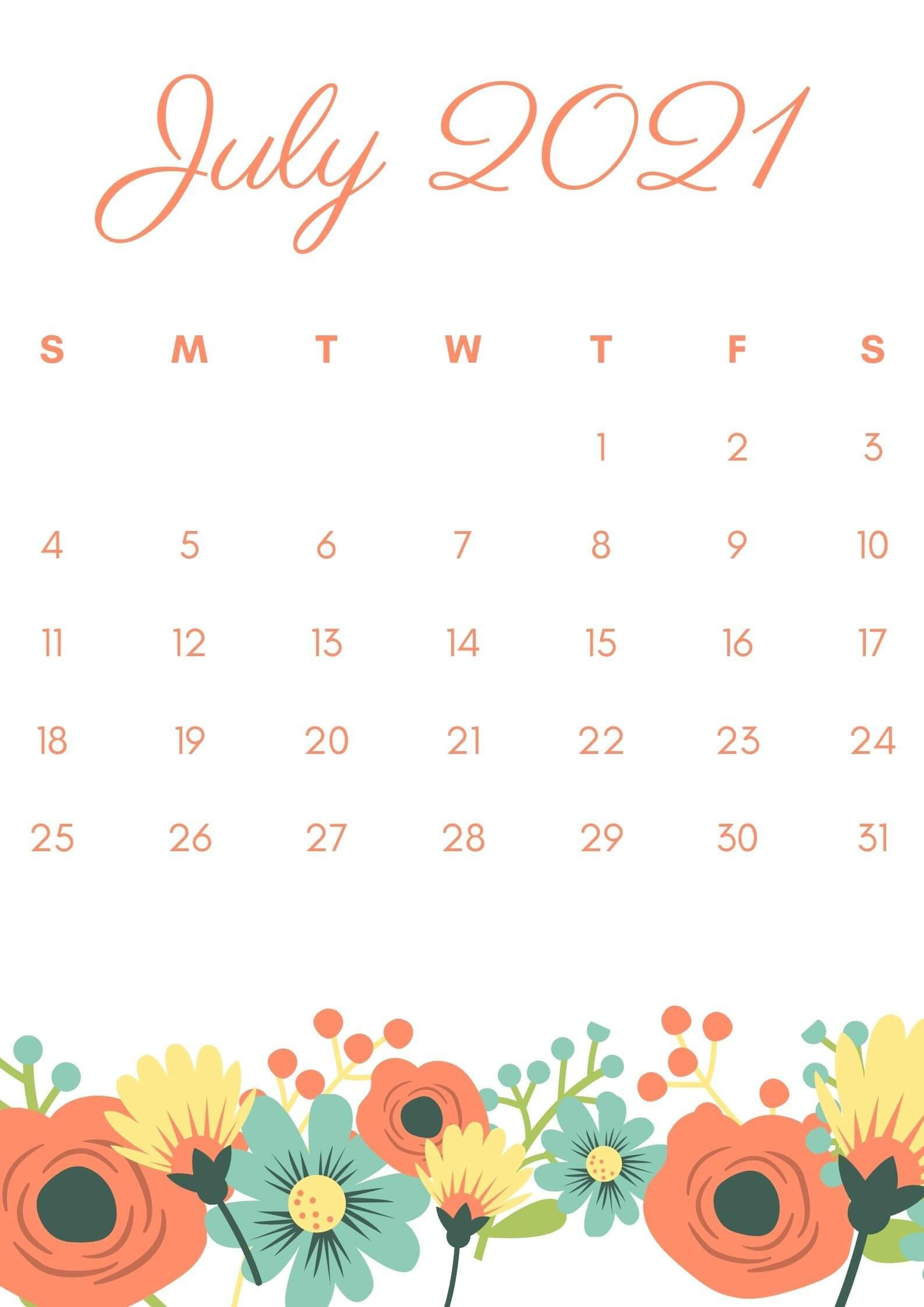 Floral July 2021 iPhone Calendar Wallpaper
