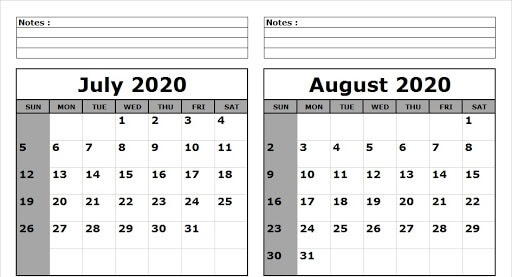 Free July August 2020 Calendar Template