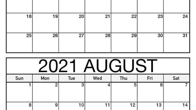 Free July August 2021 Calendar
