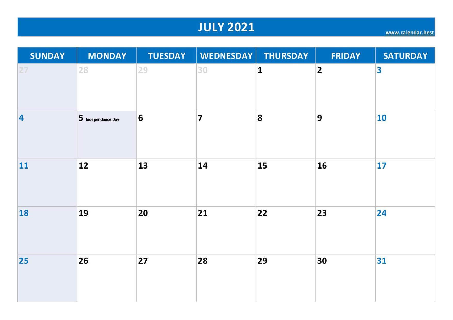 July 2021 Calendar Excel