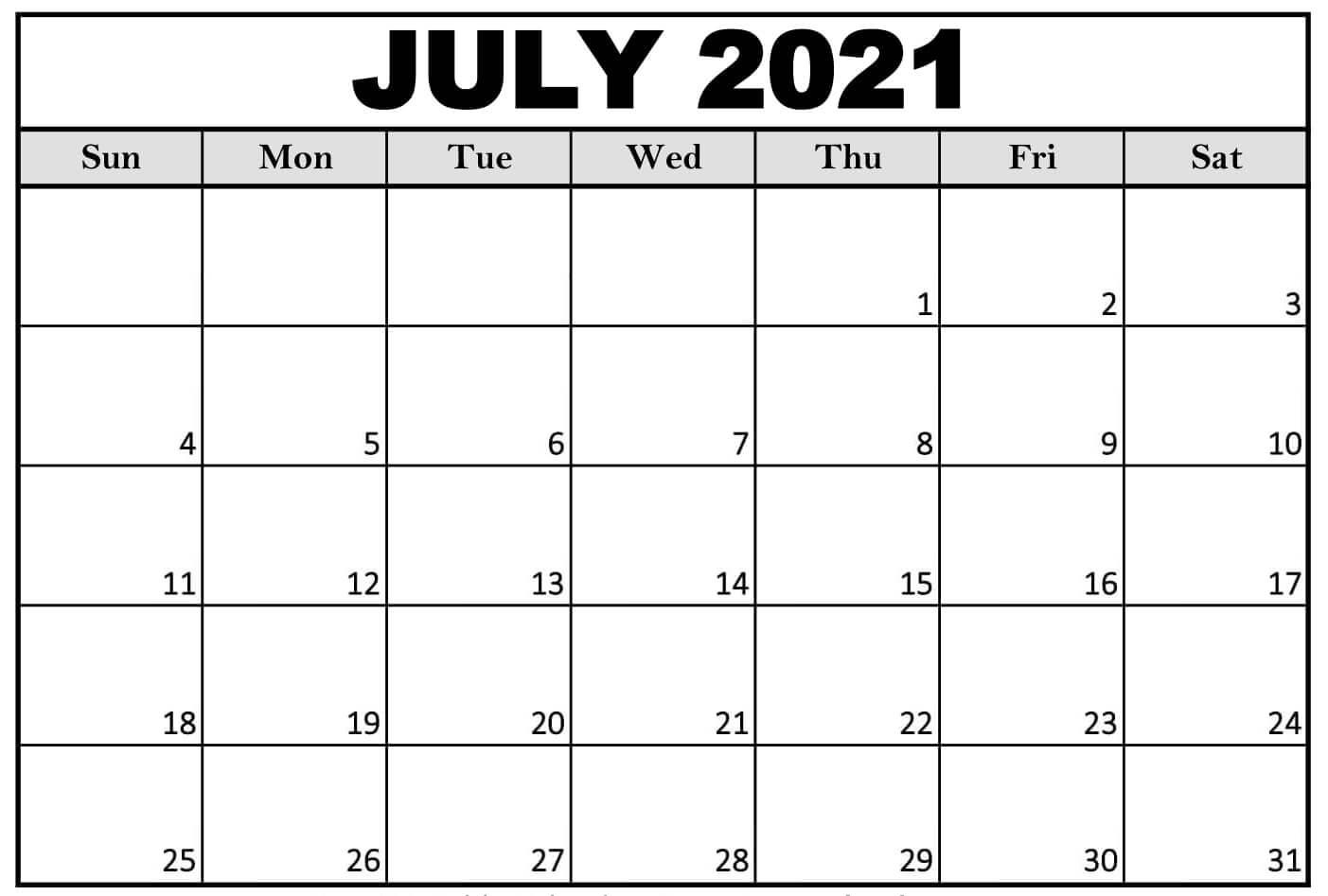 July 2021 Calendar Template Blank