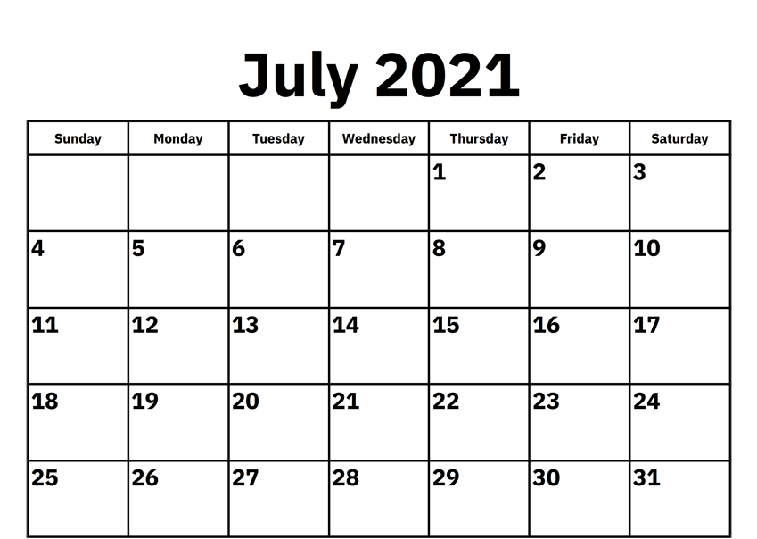 July Printable Calendar 2021