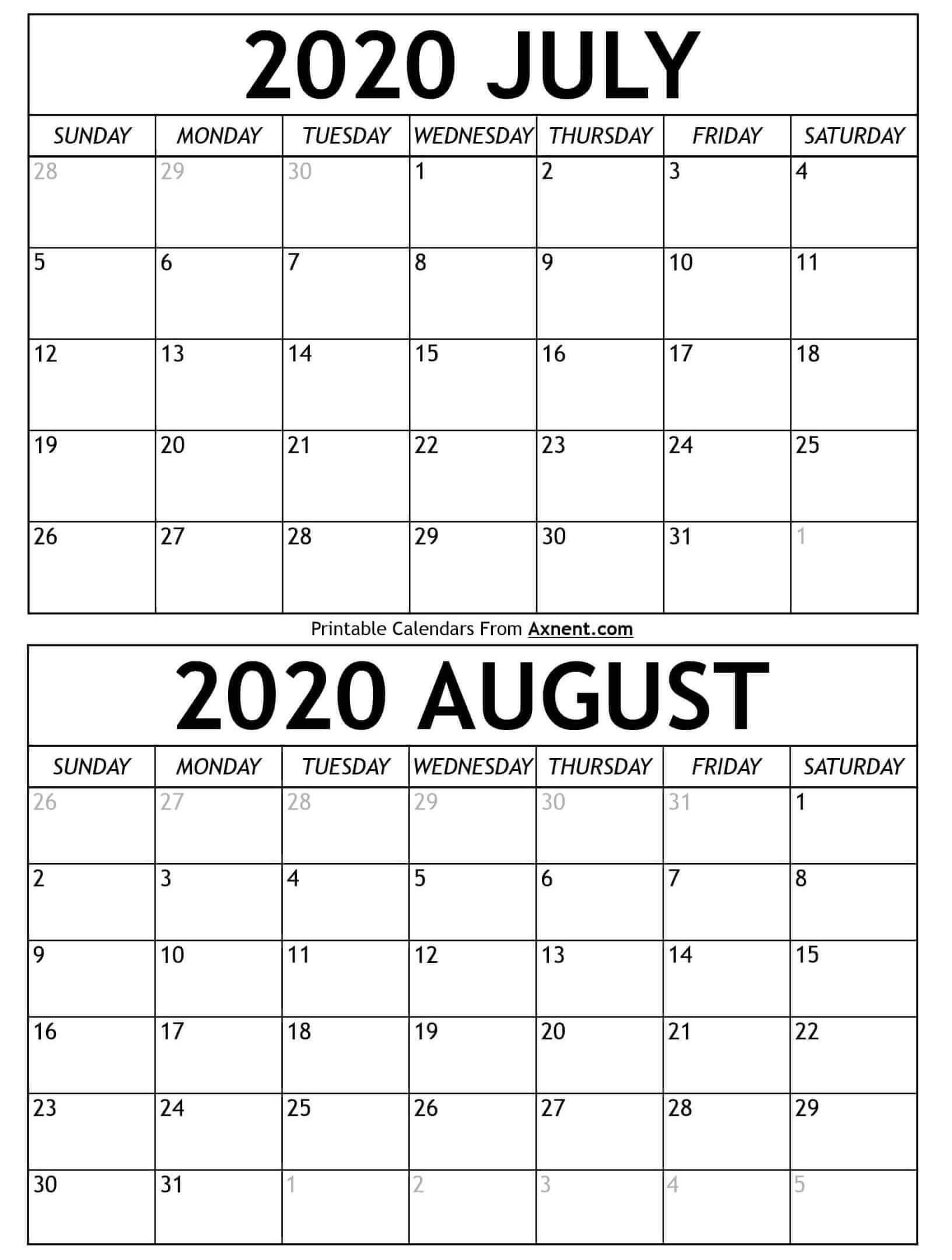 Printable July August 2020 Calendar