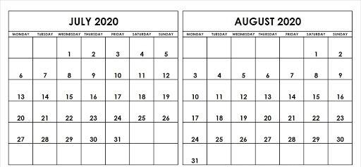 Printable July August Calendar 2020