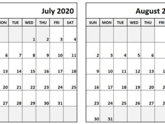 Printable July and August 2020 Calendar
