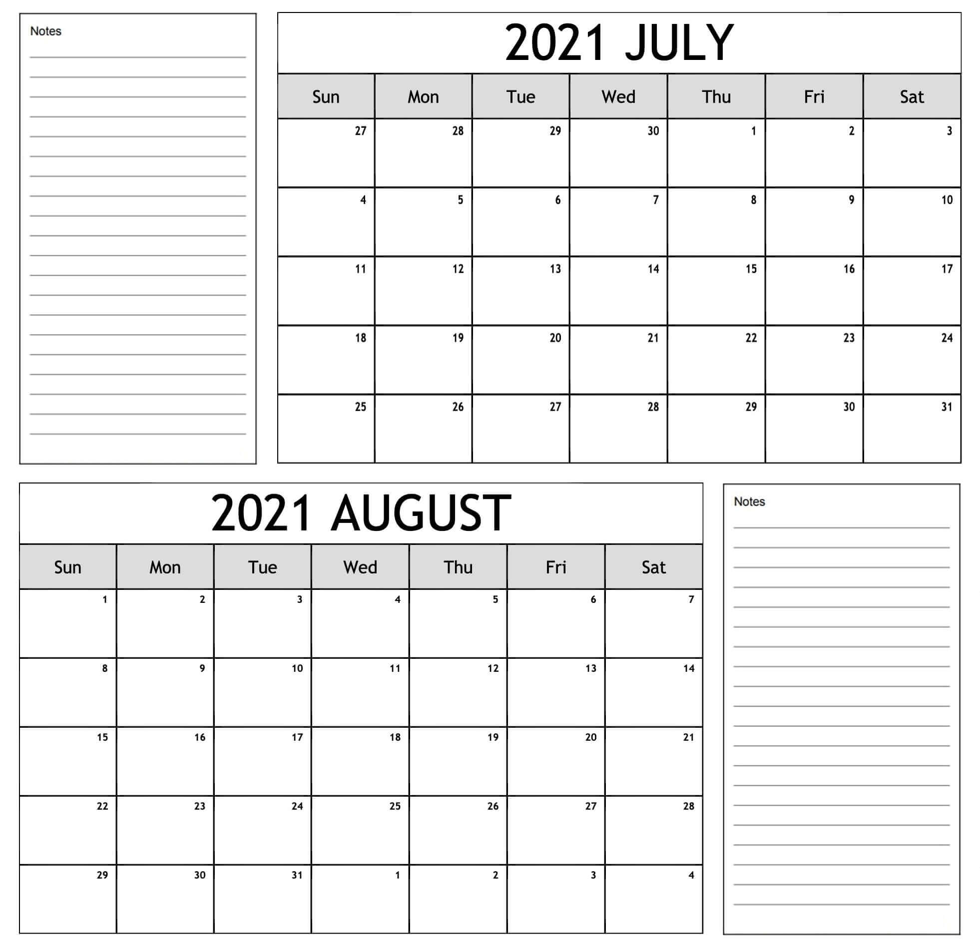 editable july august 2021 calendar with notes